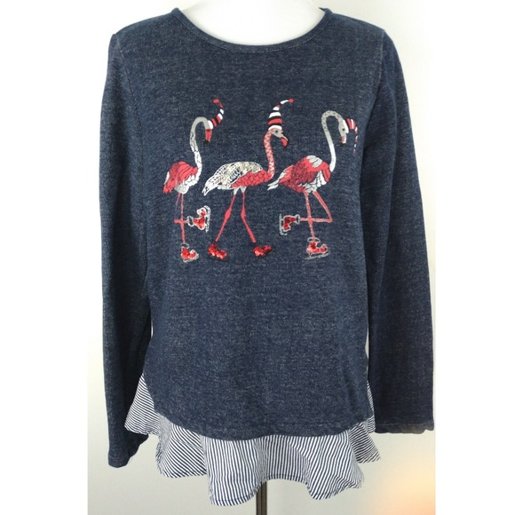 crown ivy blue flamingo christmas sweater